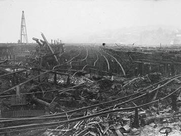 The ruins of the Seattle Lake Shore and Eastern Railway Co. after the fire. (photo: University of Washington Libraries, Special Collections, UW 21471)
