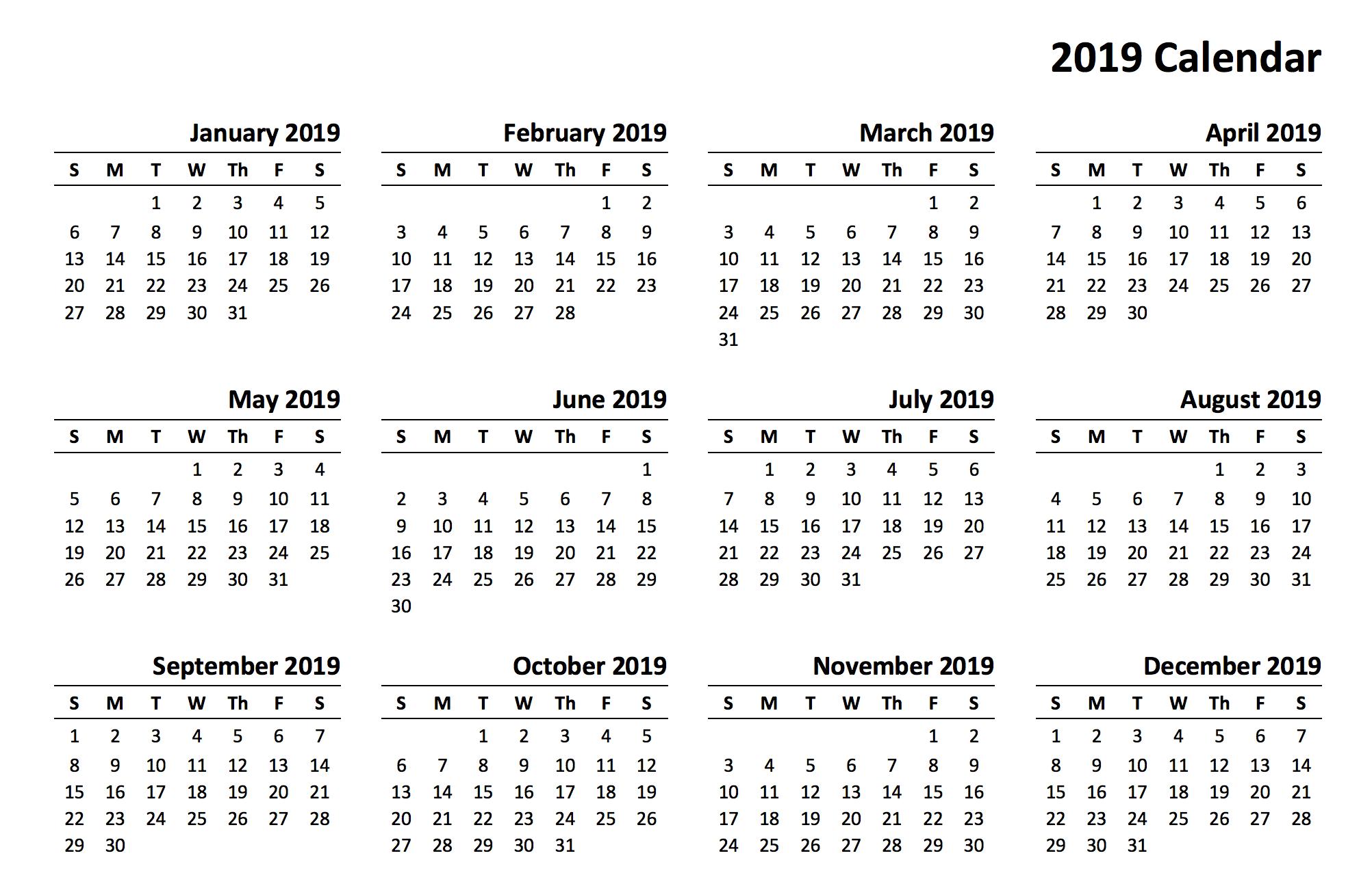 Pdf Calendar 2019 Printable