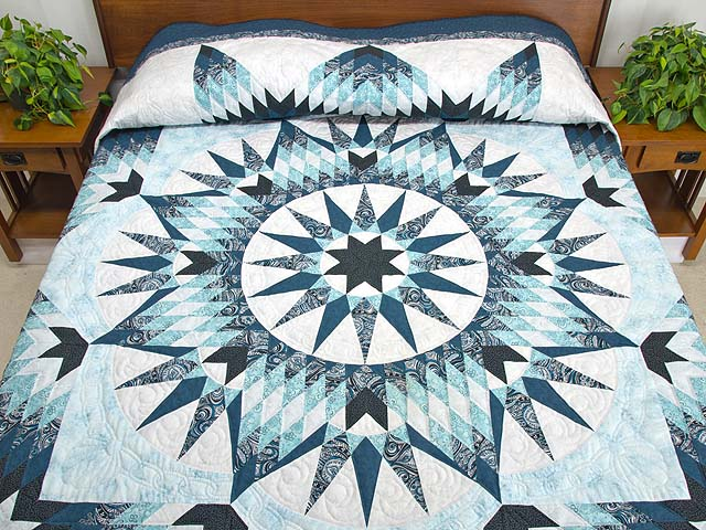 King Blue Navy Teal Mariners Star Quilt
