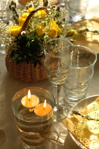 dining table with floating candles