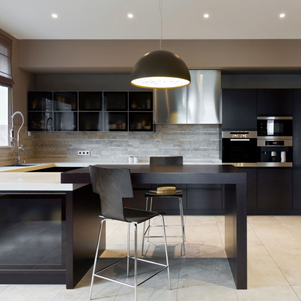 Simple elegant dark kitchen design idea with white floor