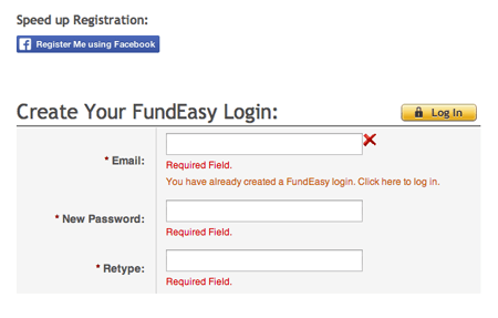 Use your existing FundEasy Log IN