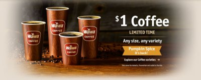 $1 Coffee! Any size, any variety! Explore our Coffee varieties!