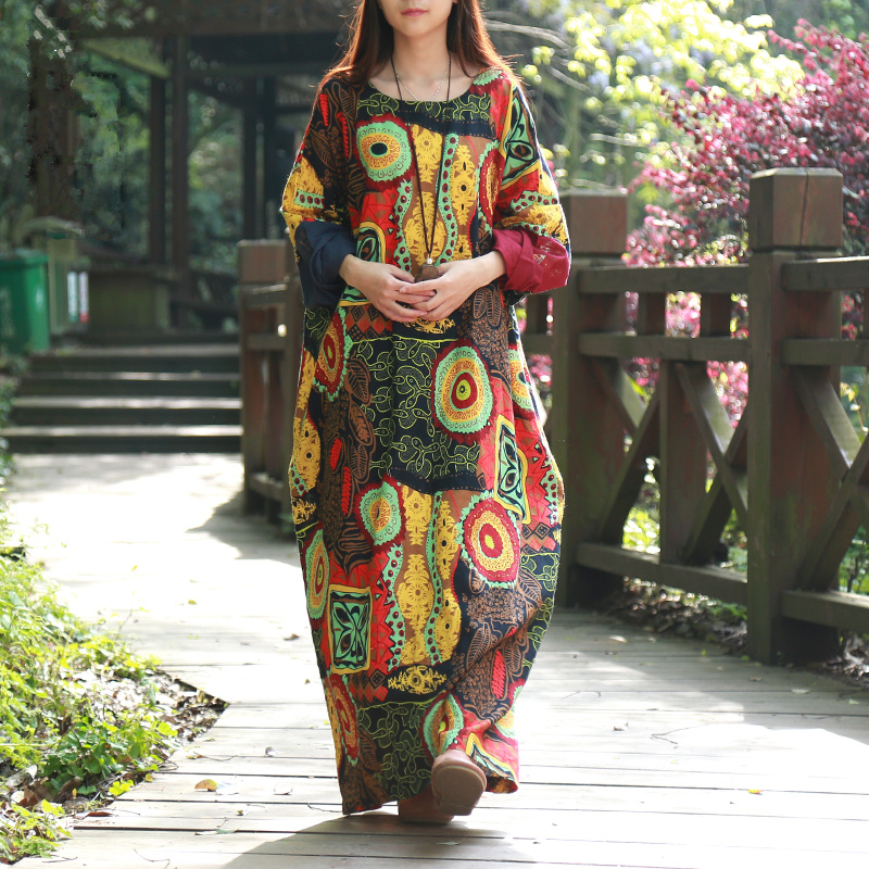 2017 Spring Women Dress Batwing Sleeve Maxi Dress O-neck Abstract Printing Cotton Linen Ethnic Robe Vestidos Long Dress Elbise
