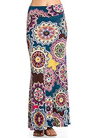 Cody Line Women's Relaxed Foldover High Waisted Floor Length Maxi Skirt