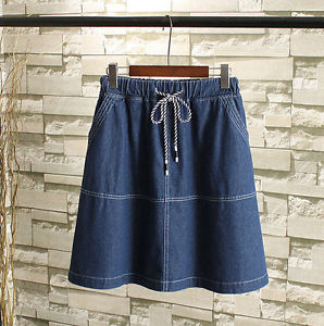 T622 New Lady Women's drawstring waist A-line Jeans denim skirt Plus Size 10-20