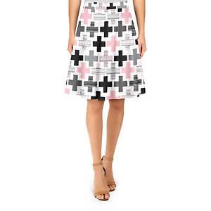 Geometric Plus Pink A-Line Skirt Sizes XS-3XL Flared Skirt