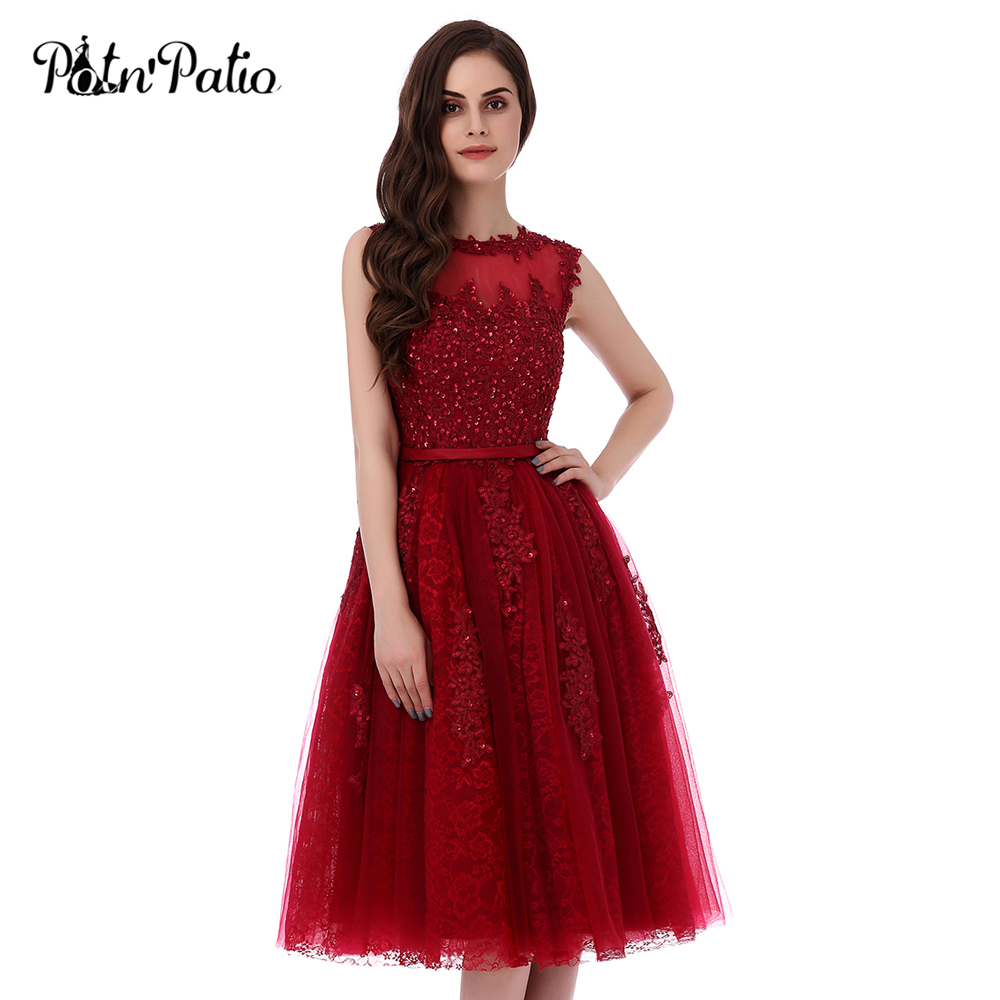 PotN'Patio High Quality 6 Layers Luxury Appliques And Beading Elegant Short Prom Dresses 2017 Wine Red Plus Size