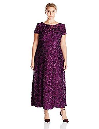 Alex Evenings Women's Plus Size Long a-Line Rosette Dress with Short Sleeves, Navy, 14W