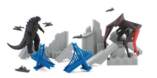 Godzilla Movie Destruction City with Godzilla and MUTO (8 Legged) Figures, plus 3 Destructible Buildings and 5 Military Vehicles