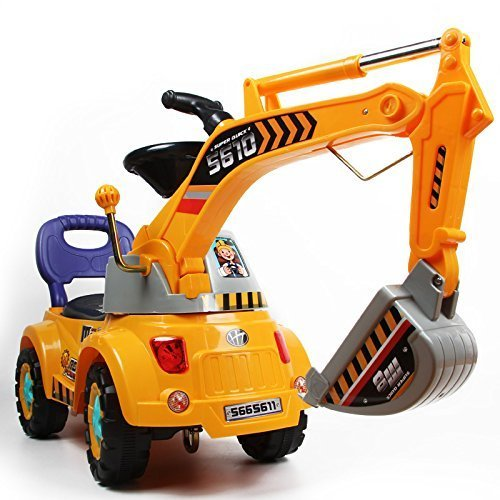 Digger scooter, Ride-on excavator, Pulling cart, Pretend play construction truck (color may vary) by POCO DIVO