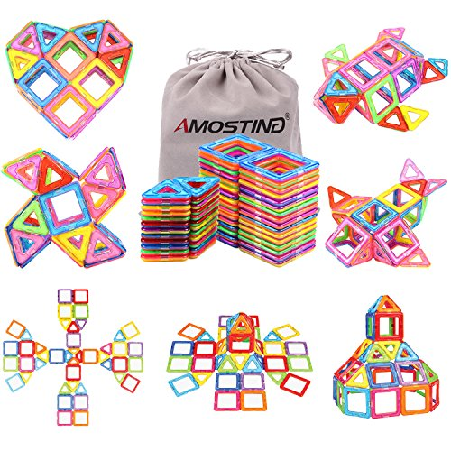 Magnetic Blocks Building Set for Kids, Magnetic Tiles Educational Building Construction Toys by idoot for Boys and Girls with Storage Bag – 56pcs