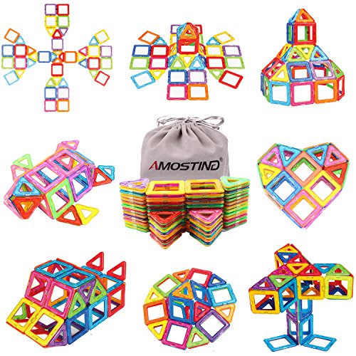 Magnetic Tiles Building Blocks Set by idoot Educational Toys for Kids with Storage Bag – 64pcs