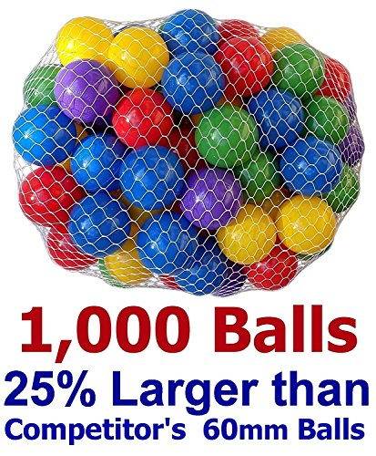Pack of 1000 pcs 2.5″ True to Size Balls Phthalate Free BPA Free Crush Proof Plastic Balls in 5 Bright Colors