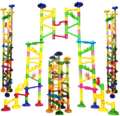 "ONE DAY SALE!!! BIG Marble Run Coaster Maze Toy 115 Pieces Building Set: 82 Blocks + 33 Safe Plastic Marbles. 250"" Long Marble Tracks. STEM Learning Games for Toddlers. Kids Building Kits."