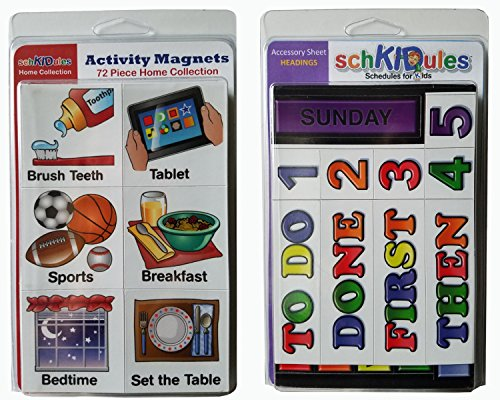 "SchKIDules Visual Schedules ""91 Pc Home Collection Combo Pack"" w/72 Home-Themed Activity Magnets PLUS 19 Headings Magnets"