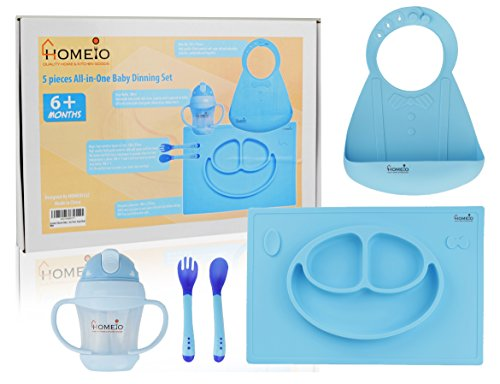 All-in-One Children's Dining Set (5-Piece Kit BLUE SMILEY) – Soft, Flexible Silicone Dishware – Includes Placemat, Sippy Cup, Fork, Spoon, Baby Bib – Boys and Girls 6 Months +