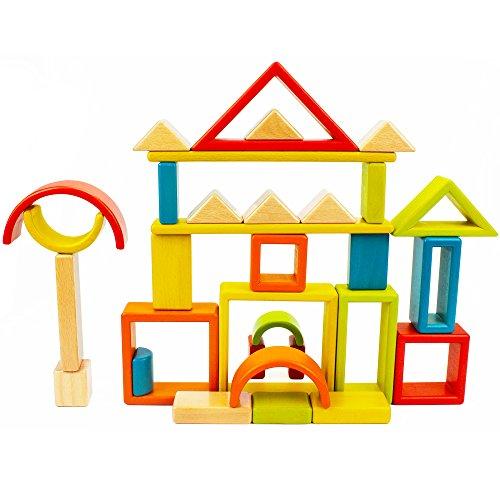 Rainbow Blocks – iPlay, iLearn Rainbow Stacker Natural Wood, Educational Toy, Wooden Art Craft Stacking Cubes Blocks 32 PCS