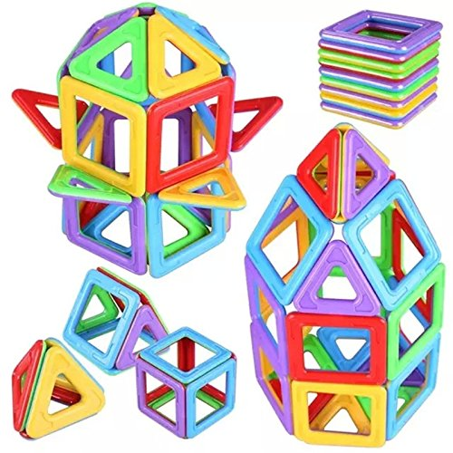 Joy Mags Magnetic Blocks Solid Color Building Tiles Construction Stacking Toys Set (88 Pieces)