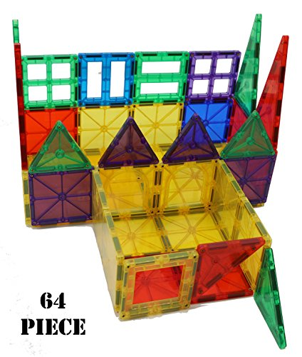 Yarrdee Magnetic Building Tiles – 64 Pieces Total, Includes 1 Cart – 100% Compatible With Other Brands