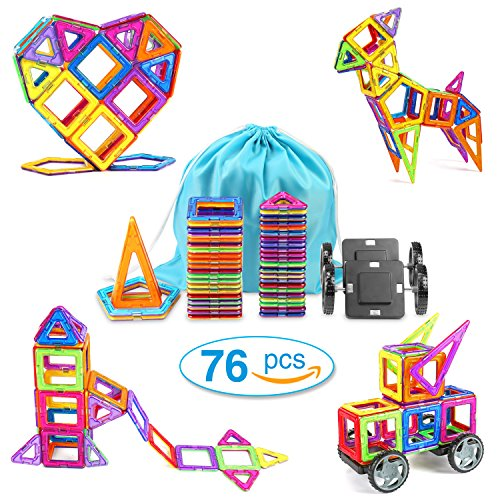 Magnetic Building Blocks FUNKOO 76PCS Magnetic Tiles Educational Magnet Stacking Toy Set for Kids with Letter Stickers and Storage Bag