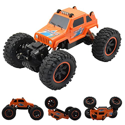 Fantastic Rolling RC Car, 2.4GHz 1:14 High Speed Double Motors 4WD Off-Road Vehicle with 360 Degree Flips, Rechargeable Remote Control Stunt Car Monster Truck, Keep Running Even If Overturned