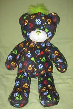 Build a Bear Rock Roll Black Bear Green Mohawk Plush Mp3 Ipod Hookup Speaker
