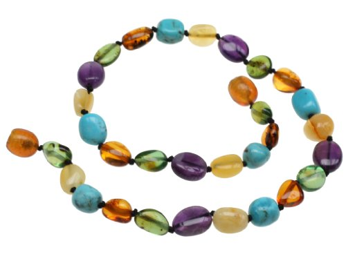 """Amberbeata Amber Teething Necklace for Baby """"River of Colors"""" Butterscotch and Lemon Baltic Amber, Green Caribbean Amber, Natural Turquoise and Amethyst"""