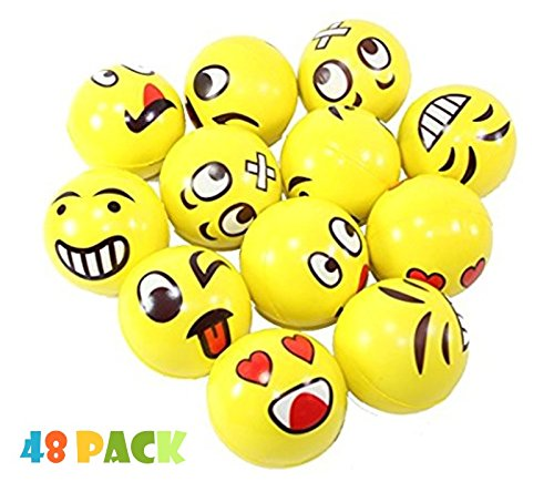 Assorrted Big Happy Face Fun Emoji Hand Wrist Finger Exercise Stress Relief Therapy Squeeze Ball (48 PACK)