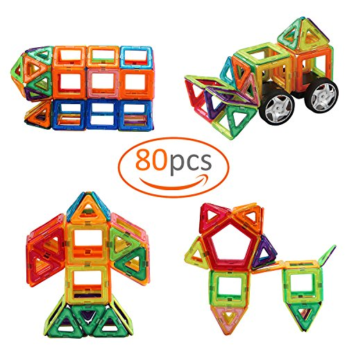 Biubee Magnetic Tiles – 80 Piece Magnetic Block Building Set with Wheels and Backpack Kids 3D Educational Toys with Free Backpack
