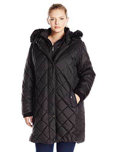Larry Levine Women's Plus Size 3/4 Diamond Quilted with Bib and Ff Trimmed Hood, Black, 2X