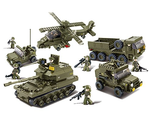 Sluban M38-B0311 Ground Forces Joint Attack Blocks Army Bricks Toy – Hind Helicopter & T-90 Main Battle Tank & Army Personnel Carriers & Army Jeep & Prowl Car