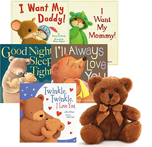 Bedtime Story Books For Toddlers Soft Book and Plush Sets: 5 Storybooks with a Brown Bear Plush Toy. Best Children Learning Baby Shower Present Set Ideas