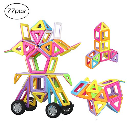 Camande 77pcs Magnetic Building Blocks Toys For Boys Girls, Construction Building Tiles Educational Stacking Toys, Large Size and Varied Shapes in Rainbow Colors, Good for Children's gift