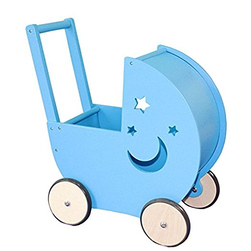 Timy Baby Walker Doll Pram Toddler Wooden Push and Pull Toy Blue
