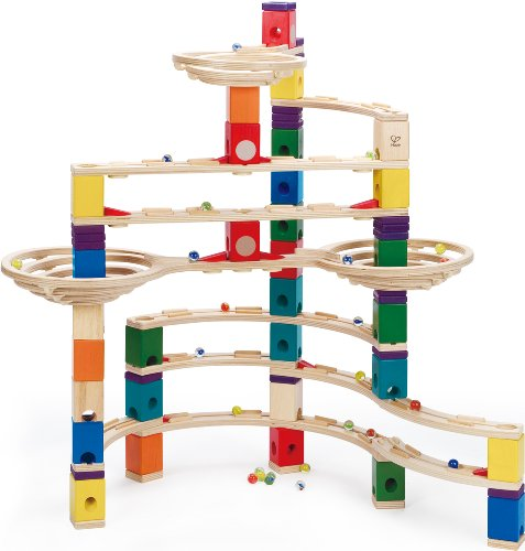 Hape Quadrilla Wooden Marble Run Construction – The Challenger – Quality Time Playing Together Wooden Safe Play – Smart Play for Smart Families