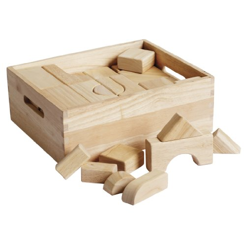 ECR4Kids Hardwood School Classroom Building Shape Blocks for Kids (64-Piece Set)