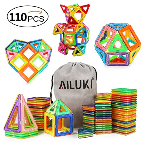 110PCS Magnetic Building Blocks Magnet Tiles Educational Stacking Blocks Boys Grils Toys for Children Educational and Creative Imagination Development By Ailuki