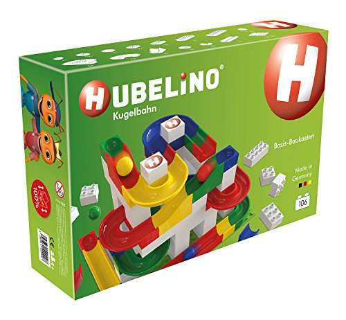 HUBELINO Marble Run – 106-Piece Basic Building Box – the Original! Made in Germany! – Certified and Award-Winning Marble Run – 100% compatible with Duplo