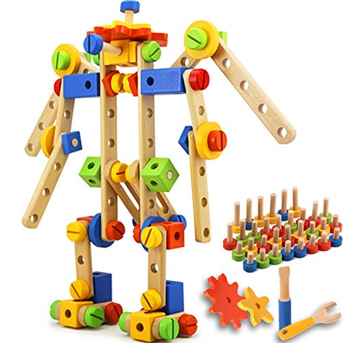 QuadPro Wooden Blocks Set 84 Piece Include Screwdrivers and Nuts and Gears and More, Educational Train Stacking Toys Building Blocks for Kids