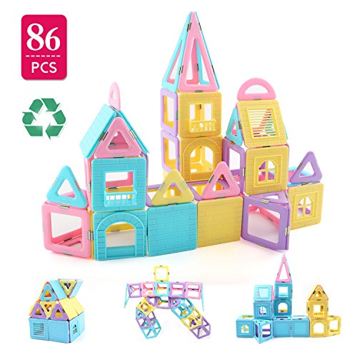 Children Hub 86pcs Magnetic Building Blocks Set: With Different Shapes To Build A Castle – Educational Building Toys For Your Kids