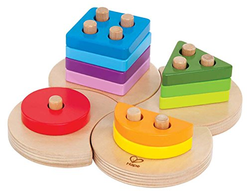 Hape Geometric Sorter Toddler Wooden Shape Learning Toy