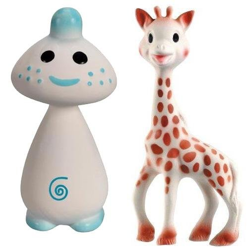 Vullie Sophie Giraffe and Chan Blue – Natural Rubber and Food Paint Details Set of 2