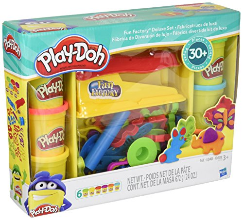 Play-Doh Toy – Fun Factory Deluxe Playset – Include 6 Tubs of Play Doh Modelling Compound