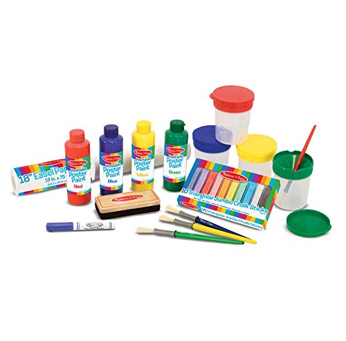 Melissa & Doug Easel Accessory Set – Paint, Cups, Brushes, Chalk, Paper, Dry-Erase Marker