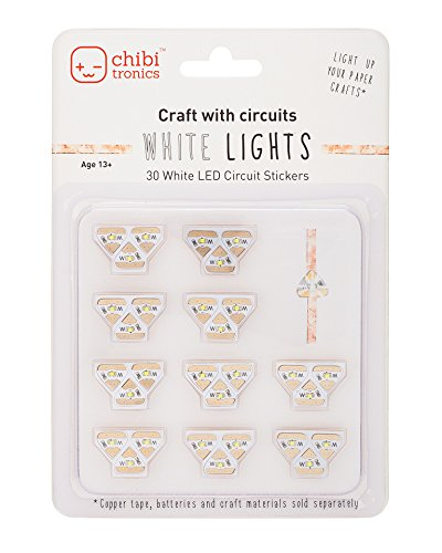 Chibitronics White LED Circuit Stickers – Megapack, 30 white LED circuit stickers