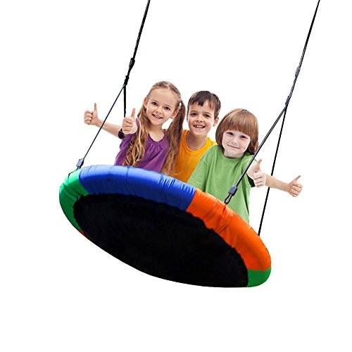 Blue island Tree Swing-Children's Outdoor Large Size 40″ Diameter Durable Swing-Easy Installation