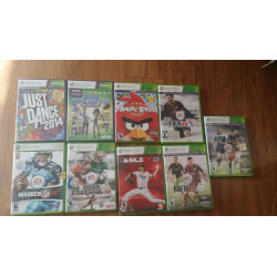 Lot Of 9 Awsome Xbox 360 Games Madden, Mlb2k, Angry Birds, Fifa Soccer, Dance