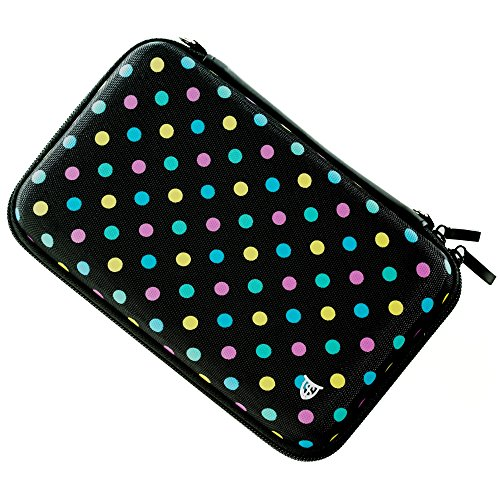 Technoskin – Compact Travel Carrying Case for NEW 3DS or NEW 3DS XL – Polka Dot – 8 Game Holders – Hard Cover – Mesh Accessory Pouch – Carrying Strap