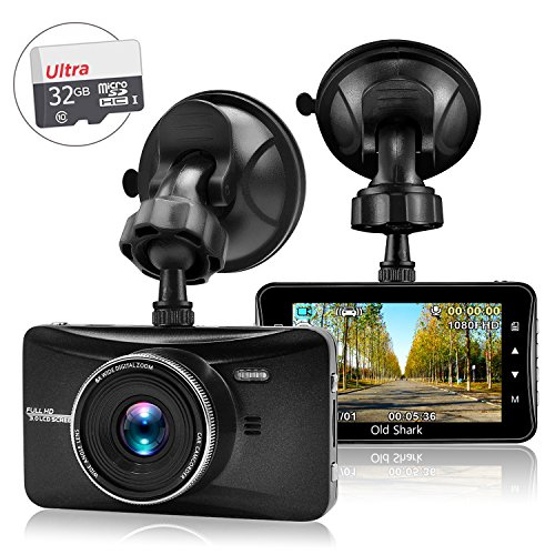 OldShark 3″ 1080P Dash Cam with 32GB Card, 170 Wide Angle Car On Dash Video, G-Sensor, Night Vision, WDR, Parking Guard, Loop Recording Dashboard Camera Recorder